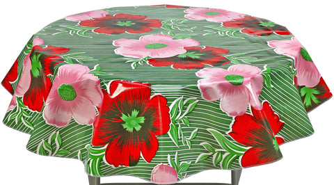 Round Oilcloth Tablecloth in Big Flowers and Stripes Green