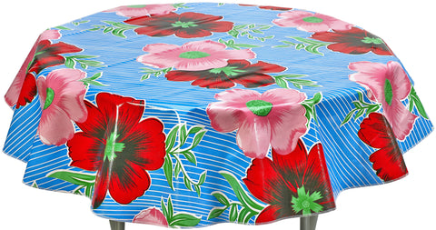 Round Oilcloth Tablecloth in Big Flowers and Stripes Light Blue