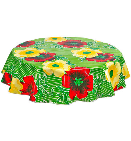 Round Oilcloth Tablecloth in Big Flowers and Stripes Lime