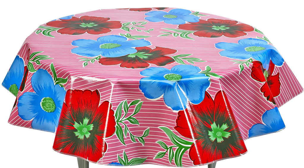 Freckled Sage Round tablecloth in Big Flowers on pink
