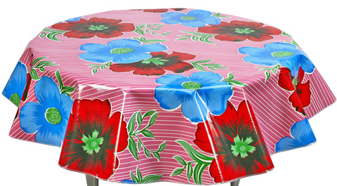 Round Oilcloth Tablecloth in Big Flowers and Stripes Pink
