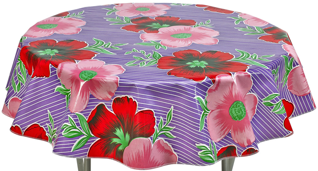 Round Oilcloth Tablecloth in Big Flowers and Stripes Purple