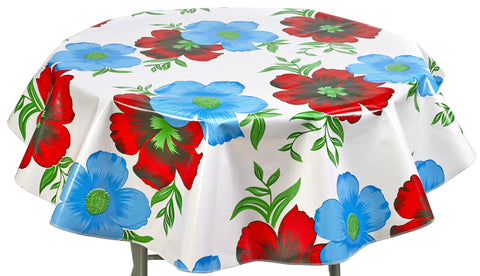Round Oilcloth Tablecloth in Big Flowers and Stripes White