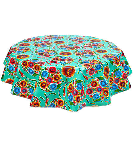 Round Oilcloth Tablecloth in Bloom Aqua