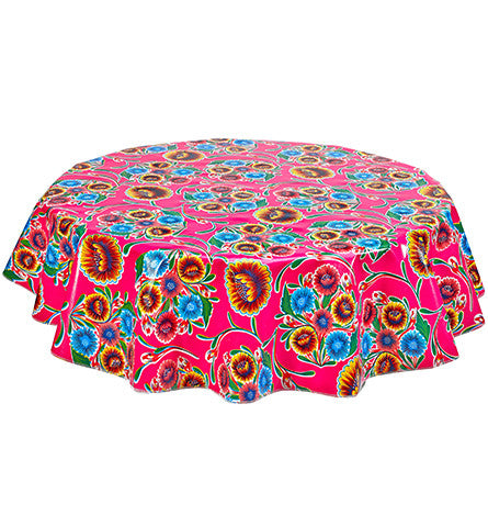 "Slightly Imperfect 80"" Round Oilcloth Tablecloth in Bloom Pink"