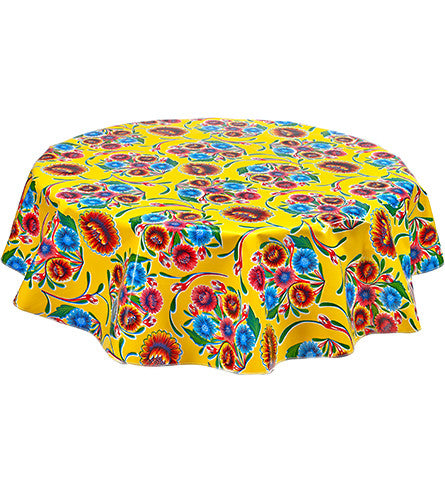 Round Oilcloth Tablecloth in Bloom Yellow