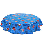 Round Oilcloth Tablecloth in Bouquet Blue