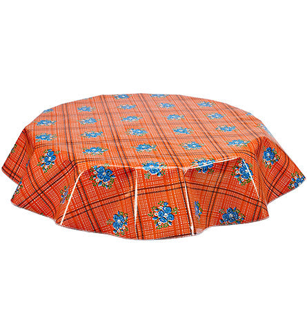 Round Oilcloth Tablecloth in Bouquet Orange