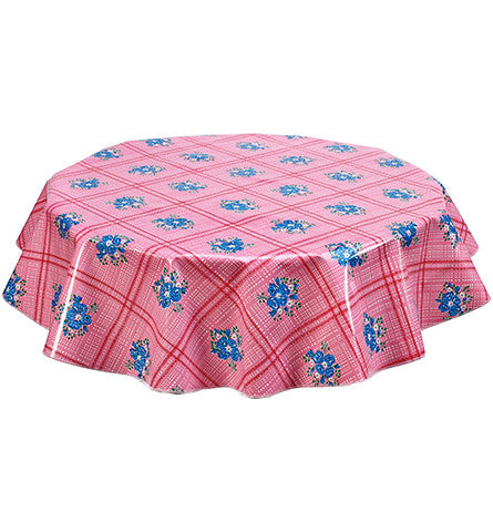 Round Oilcloth Tablecloth in Bouquet Pink