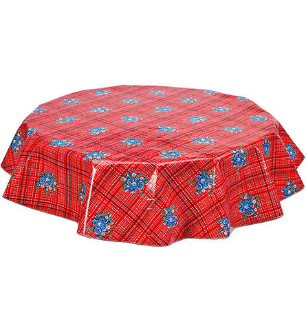 Round Oilcloth Tablecloth in Bouquet Red