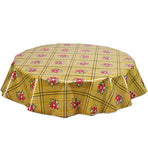 Round Oilcloth Tablecloth in Bouquet Tan