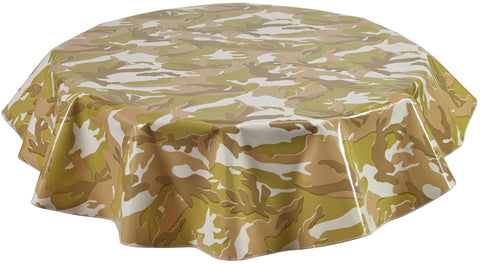 Freckled Sage Round Oilcloth Tablecloth Camo Sand