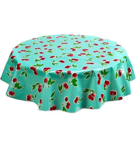 Round Oilcloth Tablecloth in Cherry Aqua