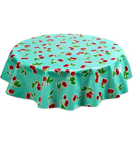 "Slightly Imperfect 60"" Round Oilcloth Tablecloth in Cherry Aqua"