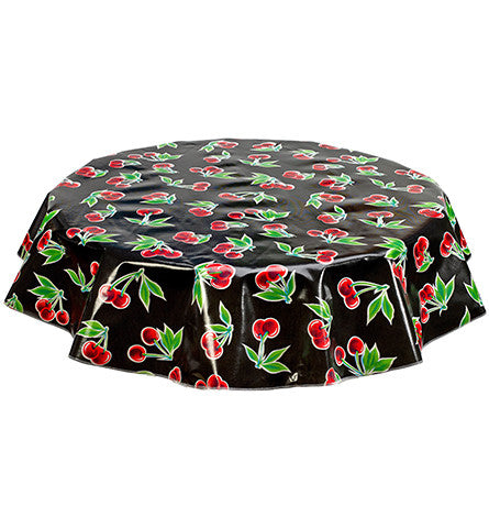 Freckled Sage Round Tablecloth Cherries on Black