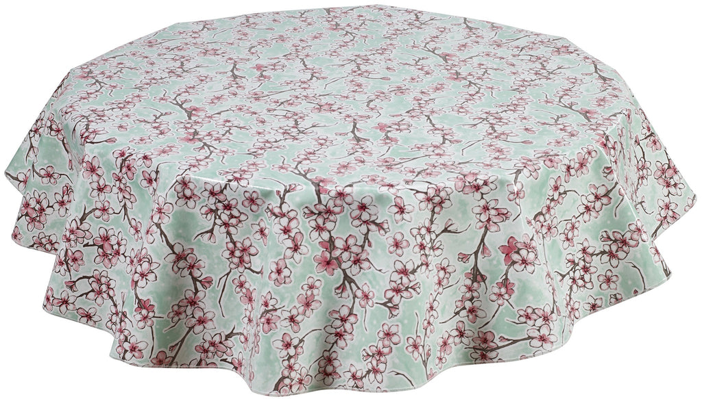 Freckled Sage Round Tablecloth Cherry Blossom Aqua