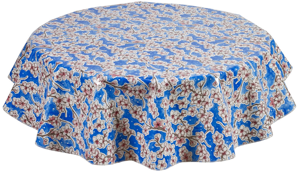 Round Oilcloth Tablecloth in Cherry Blossom Blue