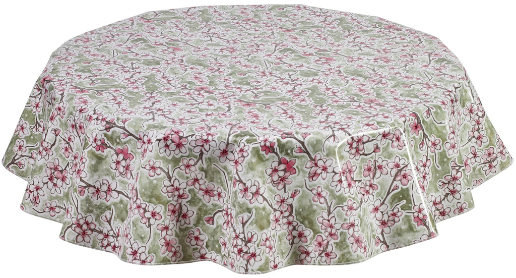 Round Oilcloth Tablecloth in Cherry Blossom Green