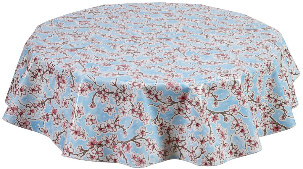 Round Oilcloth Tablecloth in Cherry Blossom Light Blue
