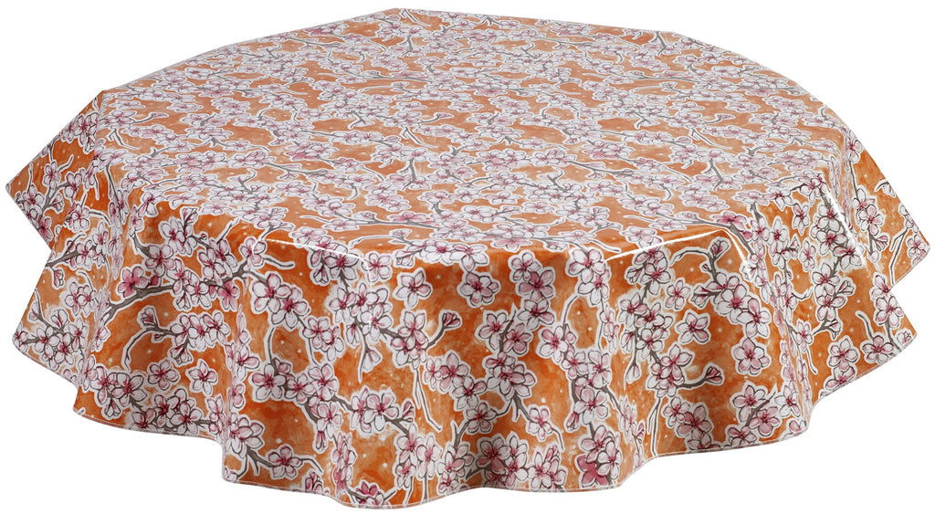 Round Oilcloth Tablecloth in Cherry Blossom Orange