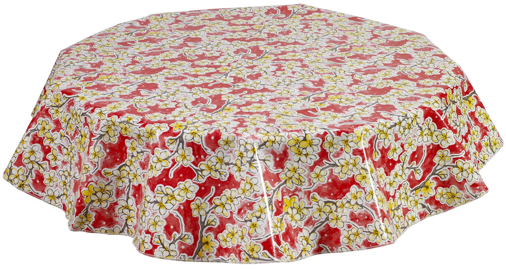 Round Oilcloth Tablecloth in Cherry Blossom Red