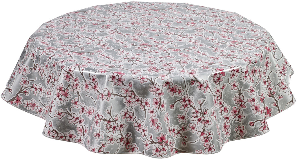 Round Oilcloth Tablecloth in Cherry Blossom Silver