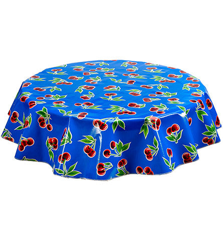 Freckled Sage Round Tablecloth Cherries on Blue
