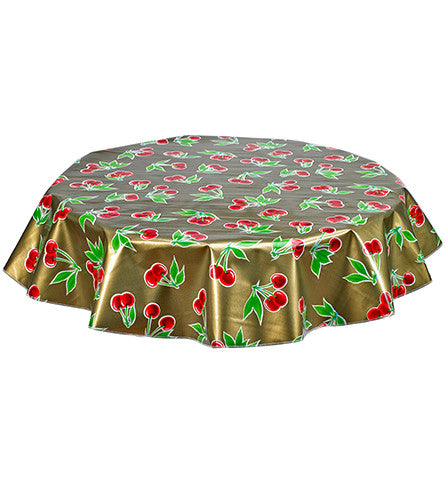 Freckled Sage Round Tablecloth Cherries on Gold