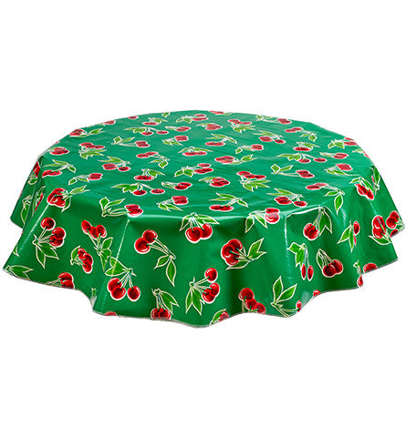 Freckled Sage Round Tablecloth Cherries on Green