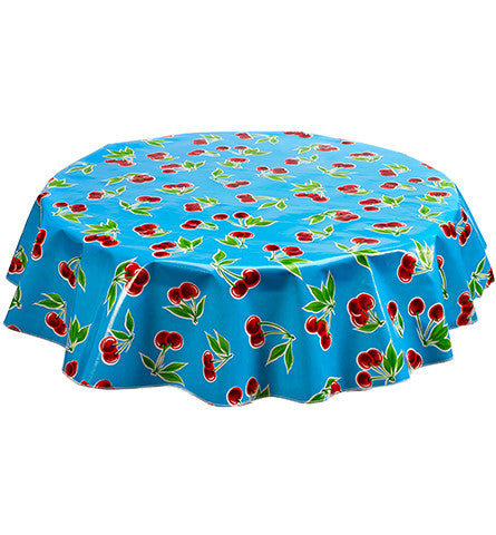 Round Oilcloth Tablecloth in Cherry Light Blue