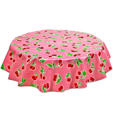 Round Oilcloth Tablecloth in Cherry Pink
