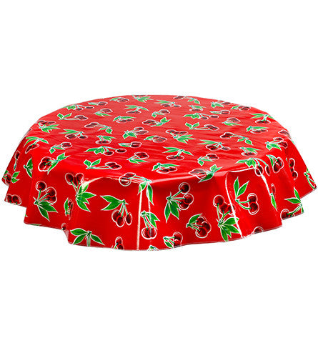Freckled Sage Round tablecloth Cherries on Red