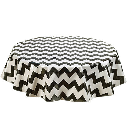 Freckled Sage Round Tablecloth Black & White Chevron