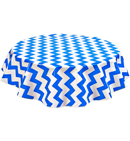 Freckled Sage Round Tablecloth Blue and White Chevron