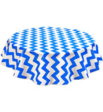 Round Oilcloth Tablecloth in Chevron Blue