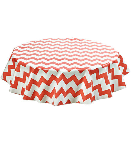 Round Oilcloth Tablecloth in Chevron Coral