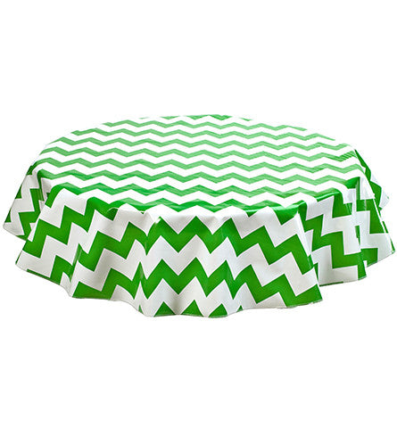 Freckled Sage Round Oilcloth Tablecloth Green Chevron