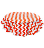 Round Oilcloth Tablecloth in Chevron Orange
