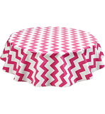 Round Oilcloth Tablecloth in Chevron Pink