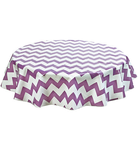Freckled Sage Round Oilcloth Tablecloth Purple Chevron