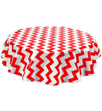 Freckled Sage Round Tablecloth Chevron Red