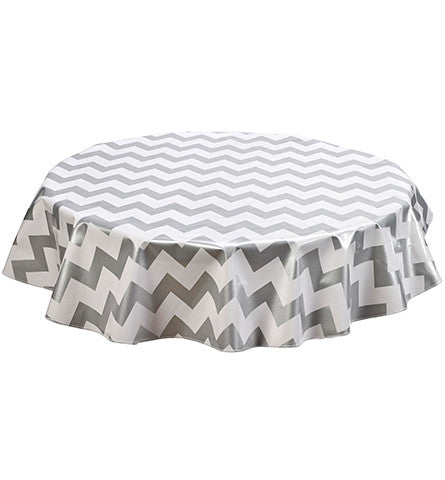 Freckled Sage Round Tablecloth Chevron Silver