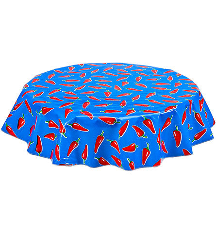 Round Oilcloth Tablecloth in Chili Pepper on Blue