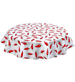 Round Oilcloth Tablecloth in Chili Pepper on White