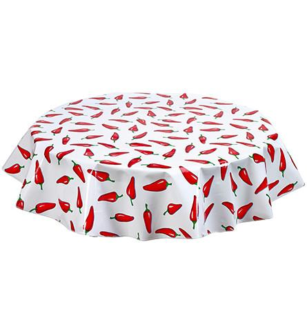 "Slightly Imperfect 90"" Round Oilcloth Tablecloth in Chili on White"