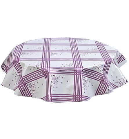 Round Oilcloth Tablecloth in Corn Flower Purple