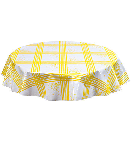 Round Oilcloth Tablecloth in Corn Flower Yellow
