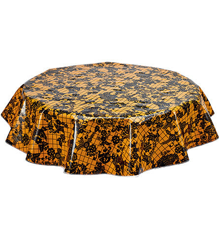 Freckled Sage Round Tablecloth Day of Dead Black on Orange