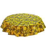 Freckled Sage Round Tablecloth Day of Dead Black on Yellow