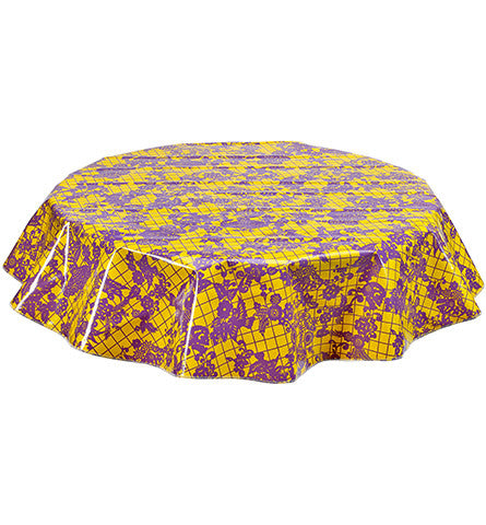 Freckled Sage Round Tablecloth Purple on Yellow Day of Dead
